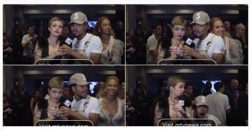 I typically make a point to not fangirl over anybody out of profession only. (It looks terrible when the entertainment reporter is losing it. http://www.shamontiel.com/other-publications.html I just lose it on the inside.) But I think I would've reacted like Chance the Rapper if Beyonce walked up to me like this. Dead serious.