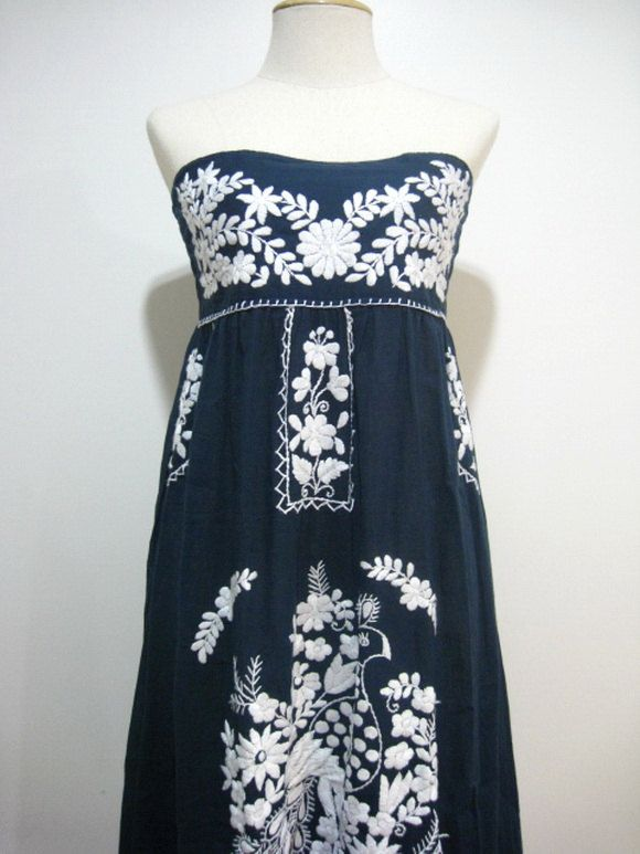 f96961dc29747f Mexican Embroidery Sundress Cotton Strapless Dress With Lining