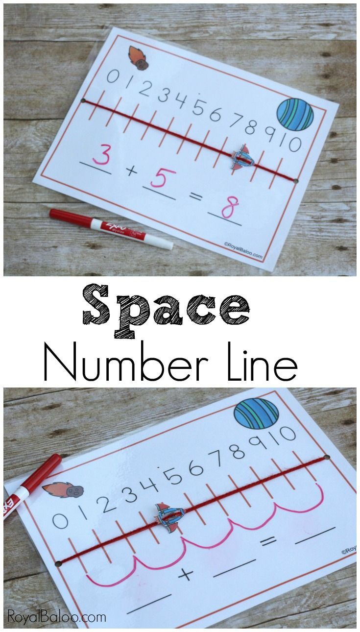 Space Number Line for Hands on Addition Math for kids