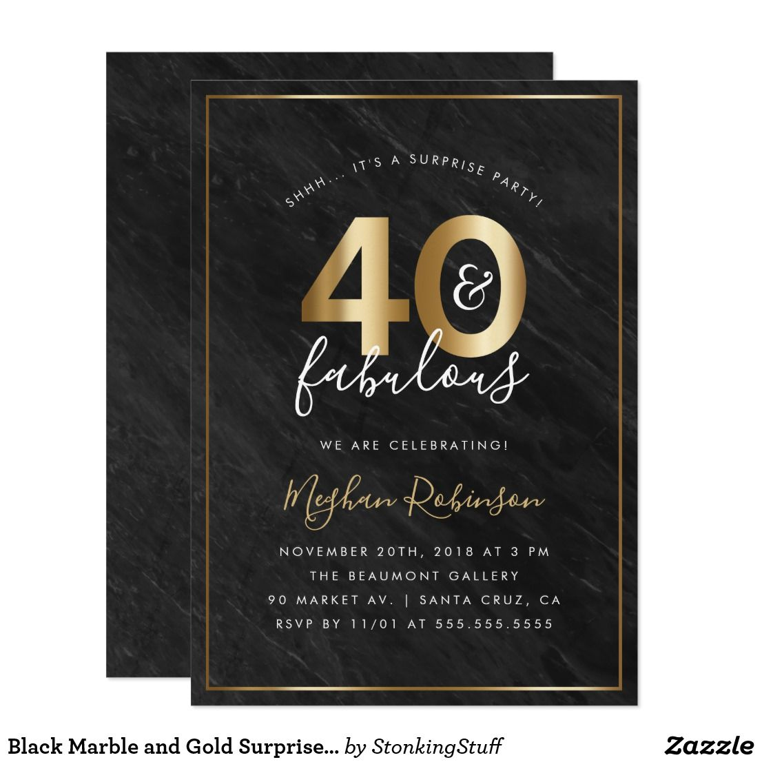 Black Marble and Gold Surprise 40th Birthday Party