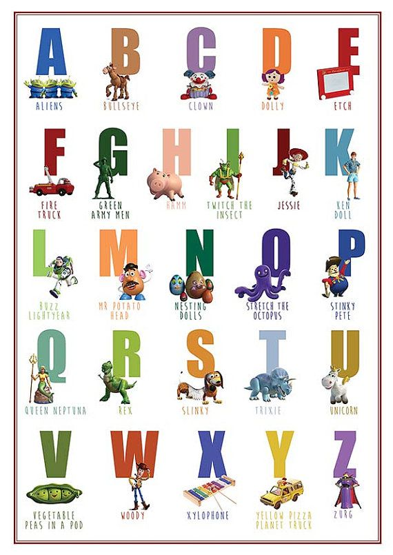 Printable Disney Abc Chart Toy Story Abc Poster Decor Wall Art Print