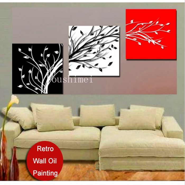 3 Pieces Free Shipping Hot Sell Modern Wall Painting Red White Tree Life Home Decorative Art Jpg 700 700 Bedroom Wall Paint Canvas Decor Wall Canvas Painting