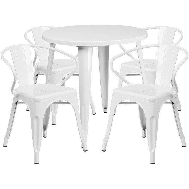 IHome Nicollet Round White Metal Indoor Outdoor Table Set Arm Chairs For Restaurant Bar Pub Patio Size Sets Furniture Iron