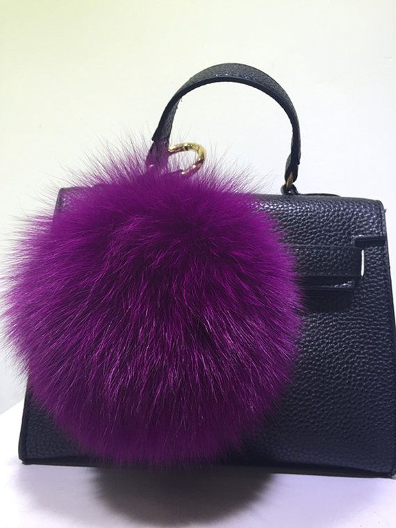a37b86b93d65 Custom Fox Fur Keychain Genuine Pom Poms Purse bag charm Soft Plush Furry  Keychains furry ball keyring fluffy Tote Charm Multiple colors