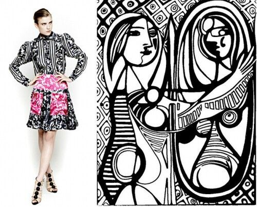 Abstract lines art inspired fashion
