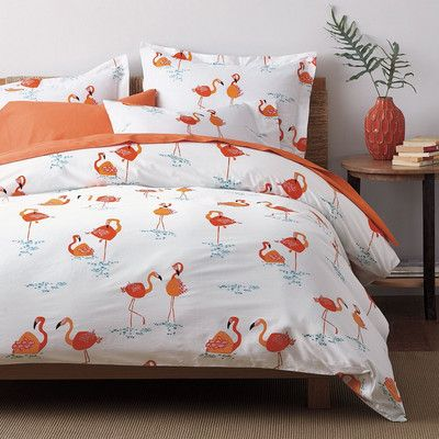 Whimsical Sheets Bedding Set With Flamingos Printed On Crisp Percale In Brilliant Shades Of C Orange Pink And Aqua