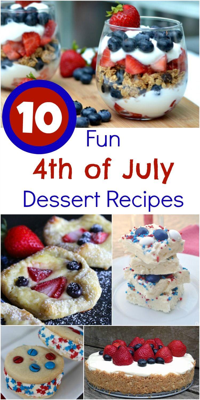 10 Fun 4th of July Dessert Recipes #recipe #IndependenceDay #4thofJuly #desserts