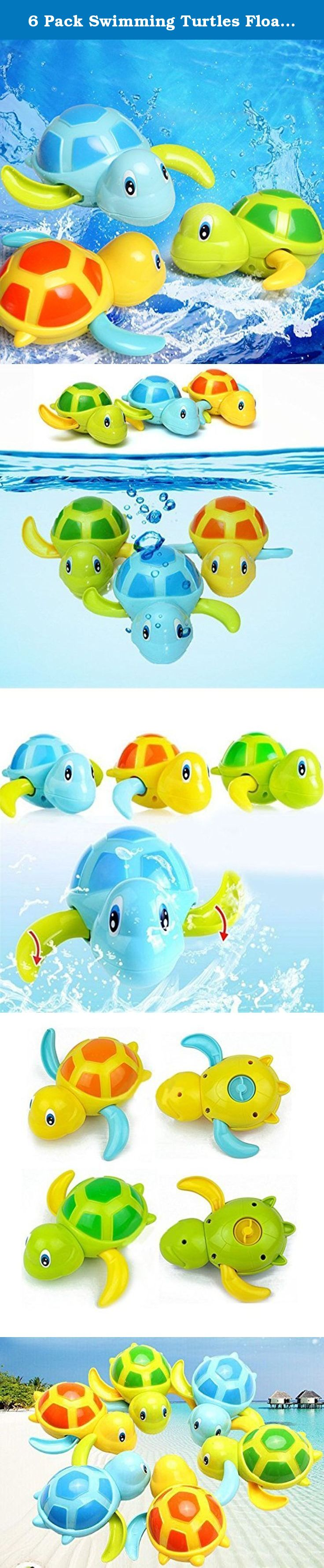 6 Pack Swimming Turtles Floating Wind Up Bath Water Toy Party