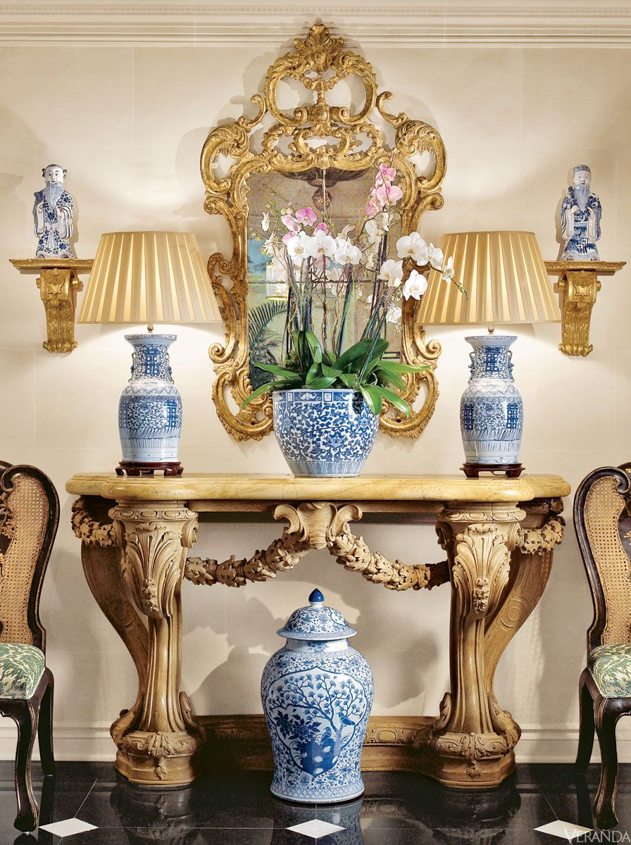Blue and White porcelain in VERANDA. Interior Design by William R. Eubanks.