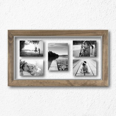 10 X 20 Wood And Metal Edge Multiple Opening Float Frame Brown Threshold In 2020 Multiple Picture Frame Frame Wood And Metal