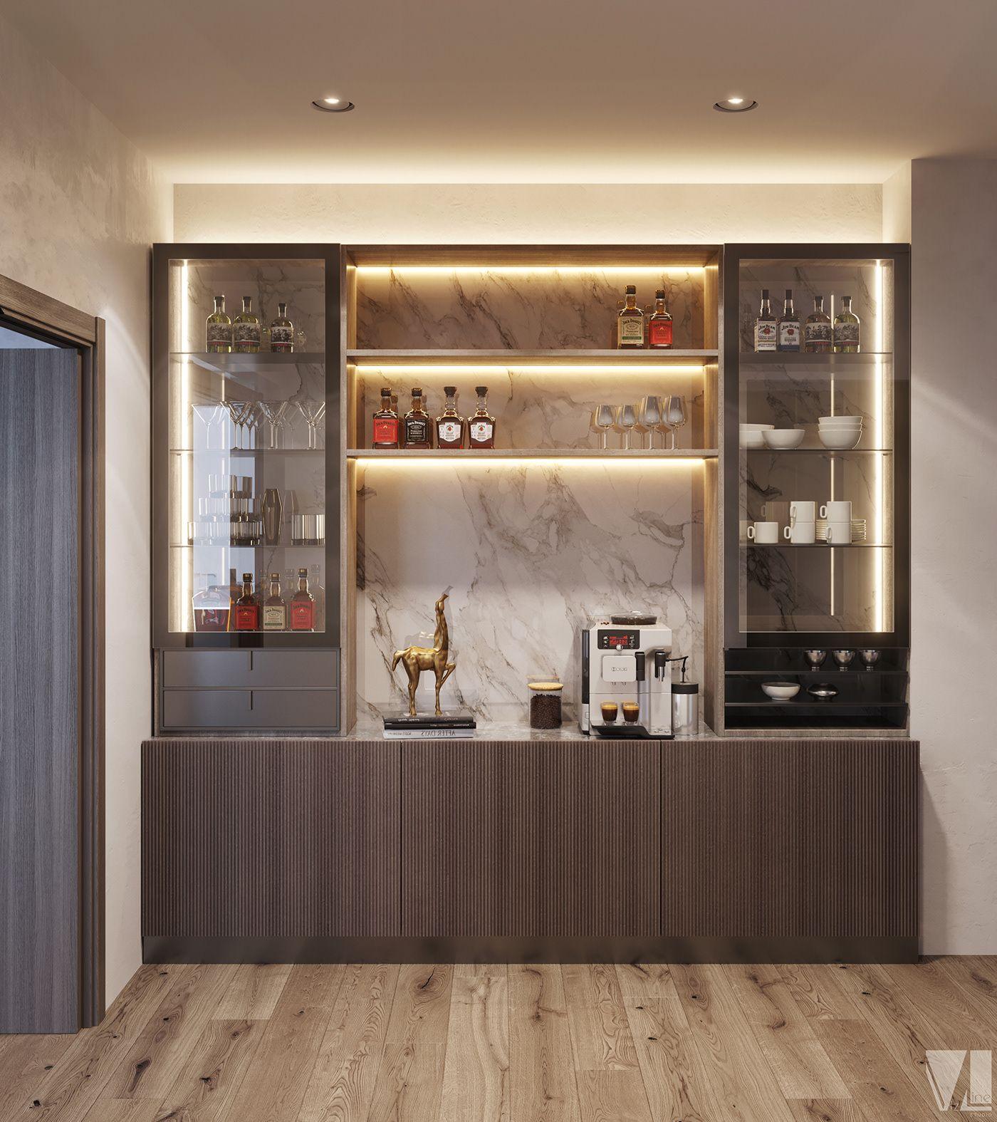 Private Apartment In Canada On Behance Home Bar Designs Modern Home Bar Living Room Bar
