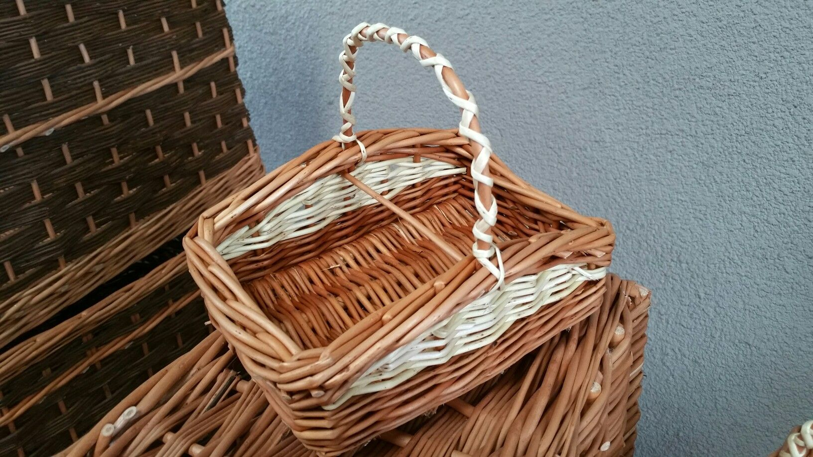 "Children's ""flat flower"" basket in buff and white willow. www.facebook.com/jaydeelliottwillowwork"