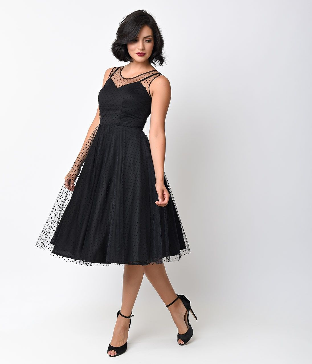 Unique Vintage 1950s Style Black Dot High Society Swing Dress | 50s ...