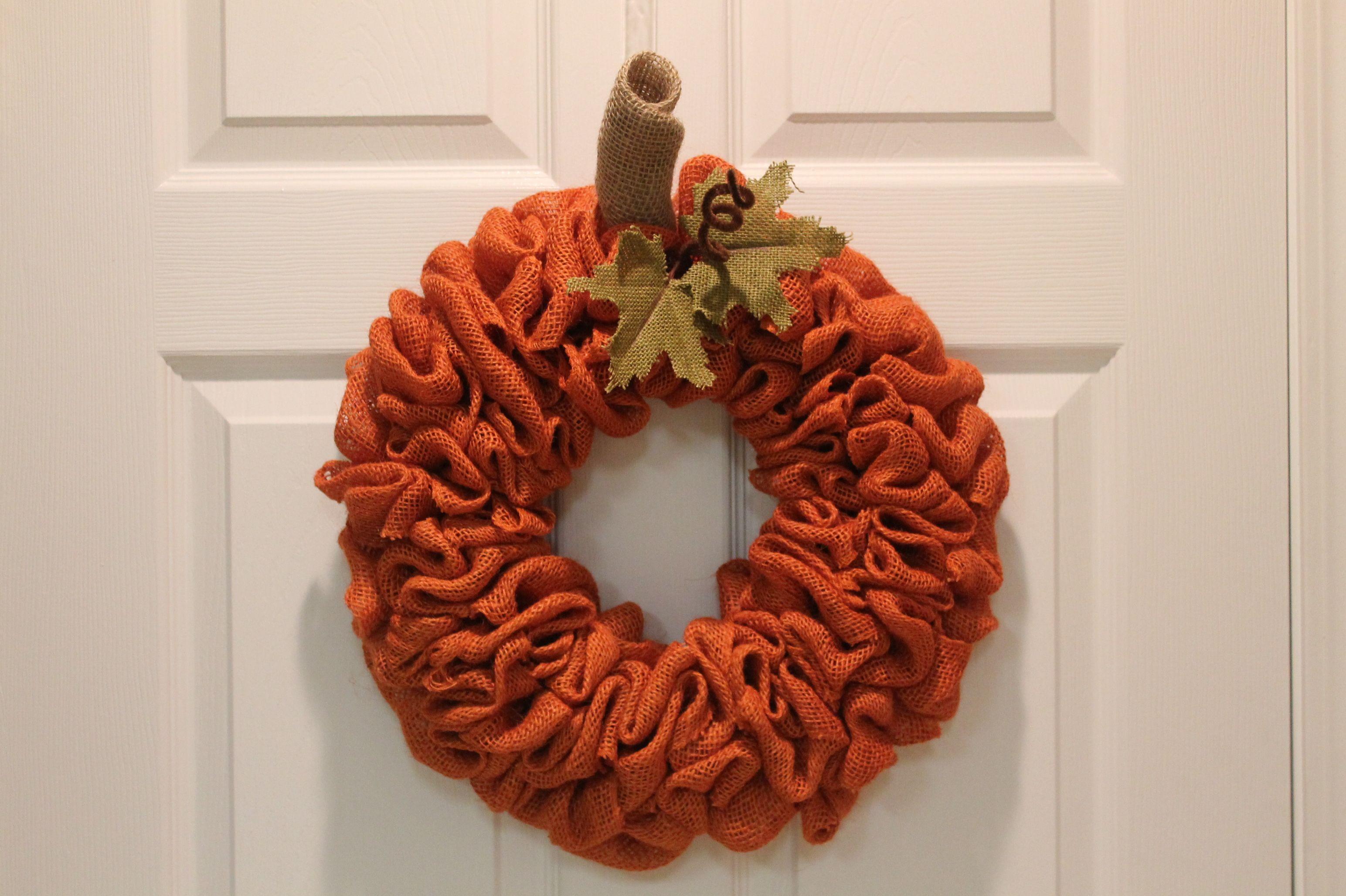 Diy Burlap Pumpkin Fall Wreath Pumpkin Wreath Diy Burlap Wreath Diy Burlap Pumpkins