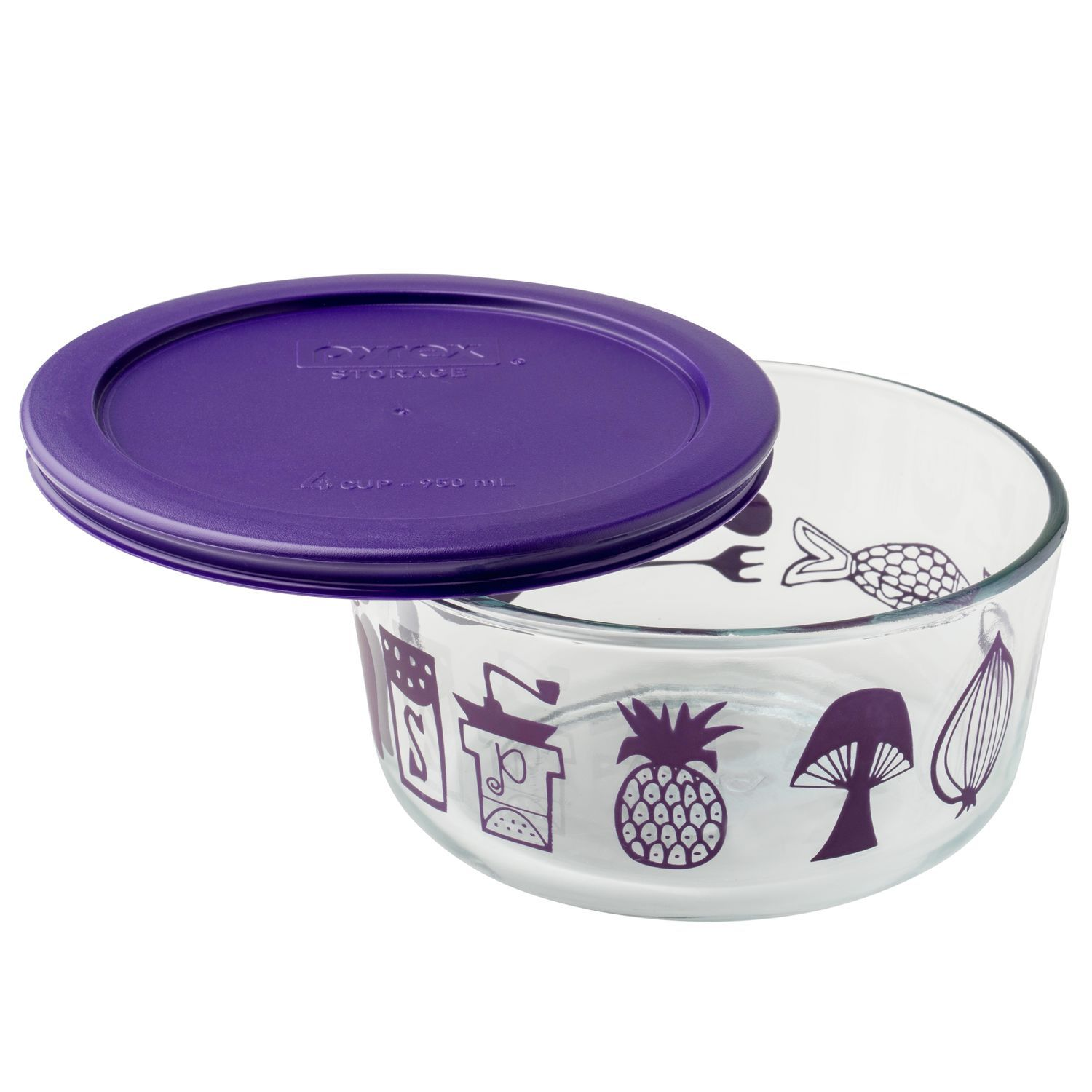 pyrex simply store 4 cup mod kitchen storage dish w purple lidsimply store food storage on kitchen organization dishes id=40357