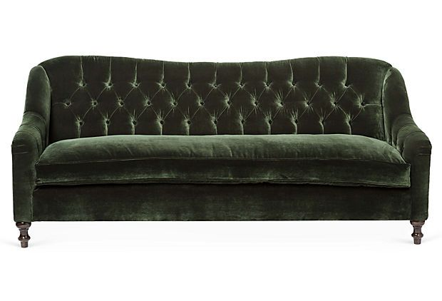 "Waverly 86"" Velvet Sofa, Forest on OneKingsLane.com I HEART THIS SOFA!!!!!!!!!!!!!!!!!!!!!! It has the single cushion across the WHOLE bottom, with NO break, which makes it absolutely luxurious! AND it has low arms, so if I wanted to take a nap and rest my head on one end, it would totally be comfortable. Ohh my, I'm in love."