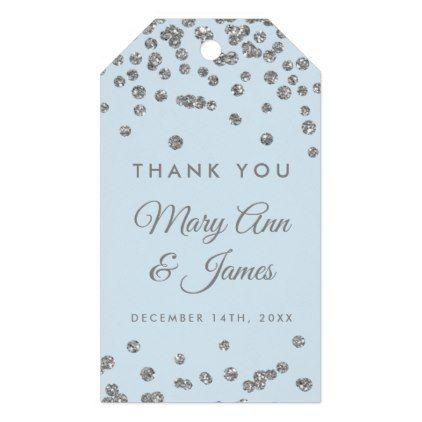 Wedding Favor Tag Silver Glitter Confetti Ice Blue Glitter - confeti