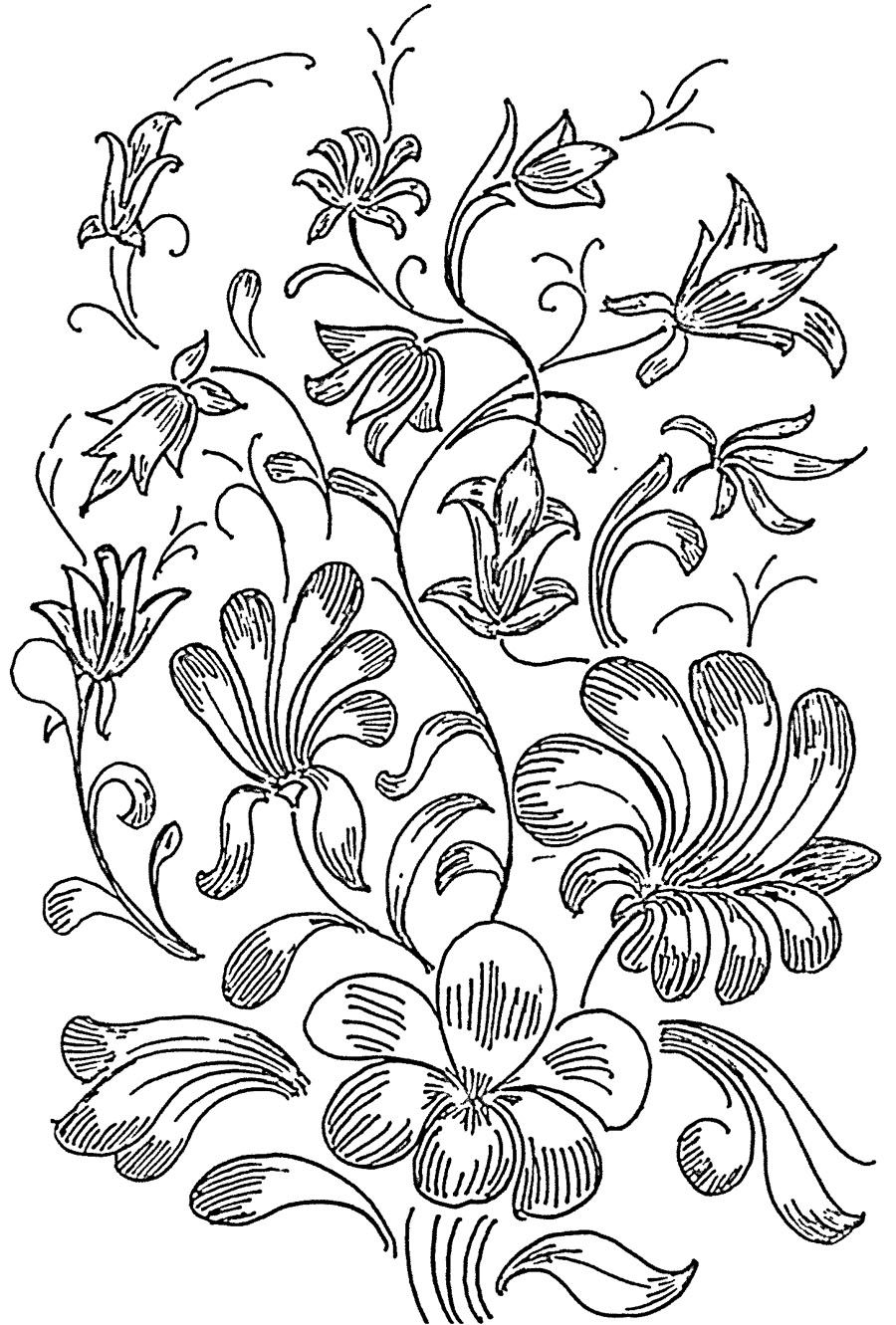 Glass Painting Patterns - flower design - tree structure with flowers