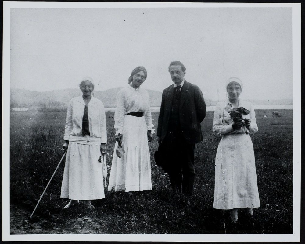 Einstein Family on Vacation In Sellin, Ruegen Island in Germany with his  second wife Elsa (left), his daughter Ilse (far left), and his stepdaughter  ...