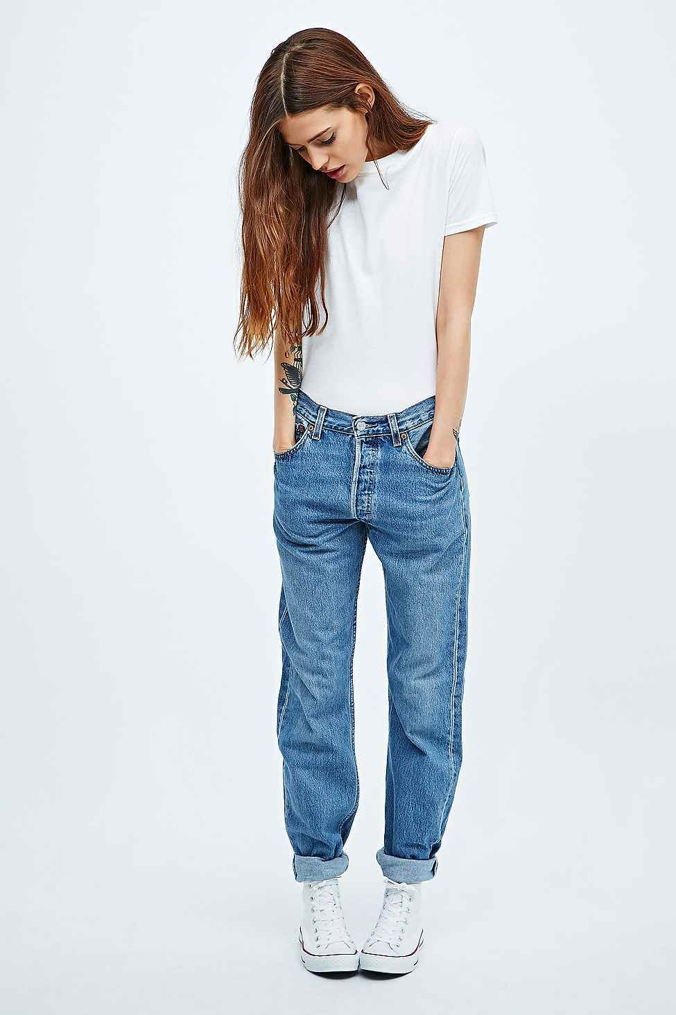 d154b32c Urban Renewal Vintage Customised Mid Wash Levi's 501 Jeans (This is just an  example, i'd like some cool jeans or some high waisters). denim Levis Shop  ...