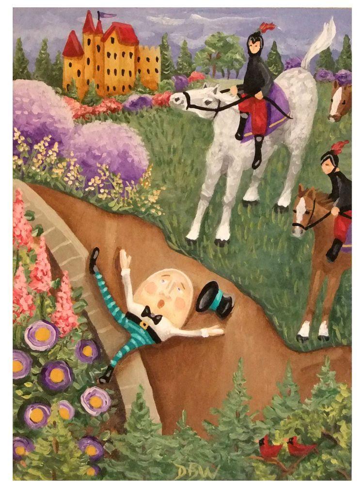 Aceo Original Acrylic Painting Humpty Dumpty Nursery Rhyme Horses