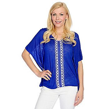 OSO Casuals® Knit Sleeveless Embroidered Detail Crisscross Back Poncho Top