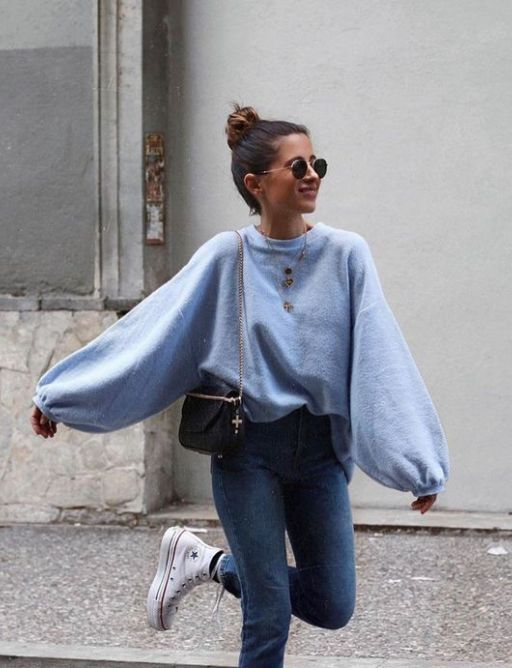 This fluffy pullover outfit is a must for the winter