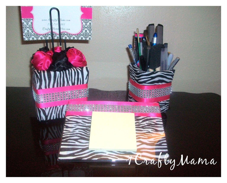 Elegant Bling Office Desk Set Zebra Print Hot By 1chicncraftymama