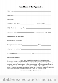 Sample Printable RentalPetApplication Form  Sample Real Estate