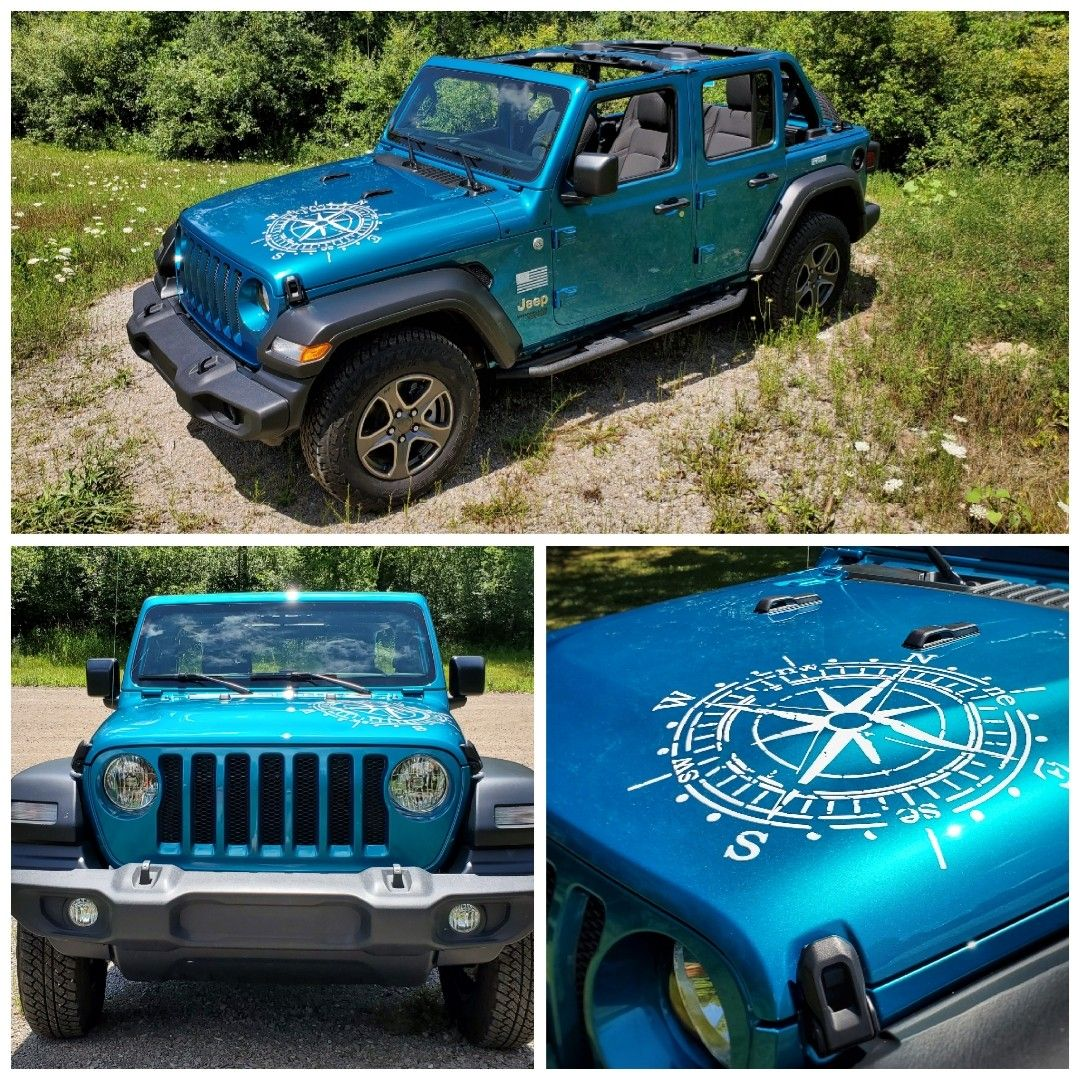 2019 Jeep Wrangler Distressed Style Hood Compass Decal Jeep Hood Decals Jeep Jeep Wrangler