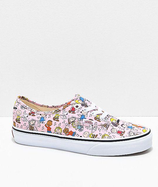 80ed50e15e1c62 Vans x Peanuts Authentic Dance Pink   White Skate Shoes