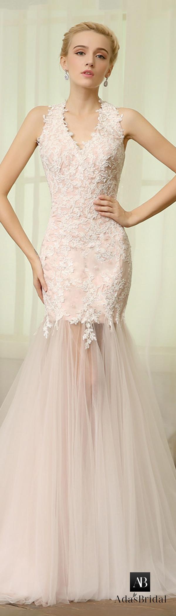 Tulle mermaid wedding dress  Elegant Tulle Halter Neckline Mermaid Wedding Dress  Wedding