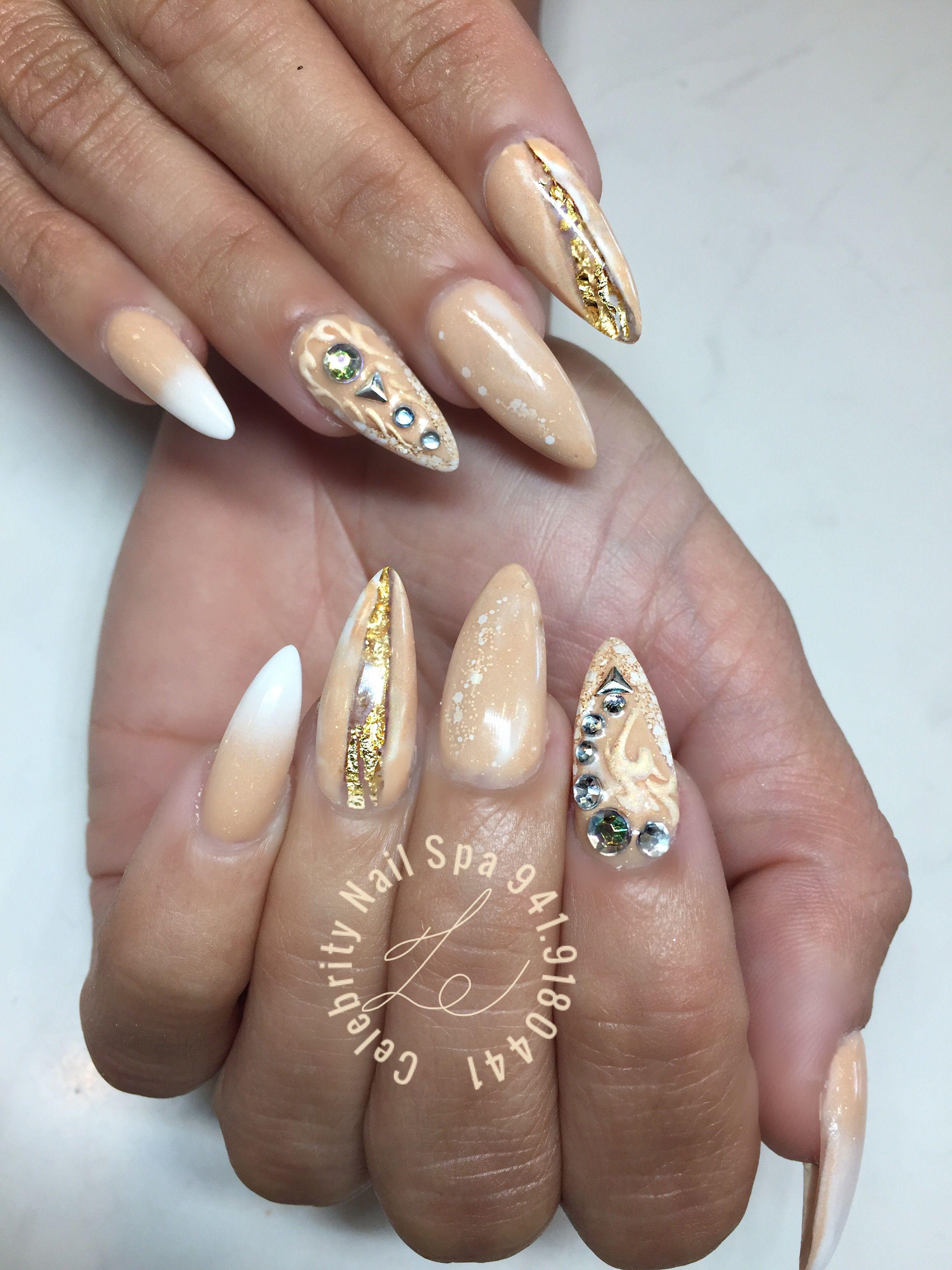 Custom designs nude all powder color | Nail art Celebrity Nail Spa ...