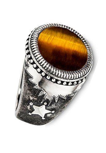 Cai Men S Ring 925 Sterling Silver Tiger Eye Brown 60 Price