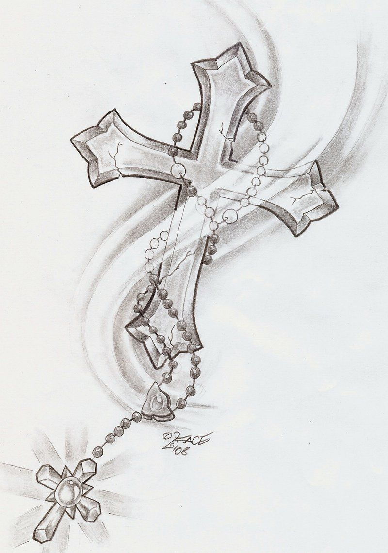 Fashion week Crosses of drawings with rosary for lady