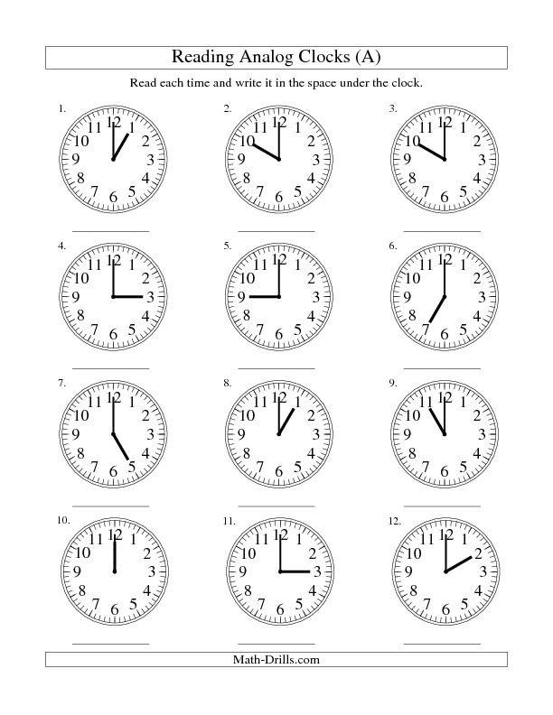Reading Time on an Analog Clock in One Hour Intervals (A