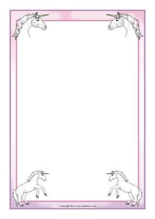 Resultado de imagen para unicorn border for word Bordes