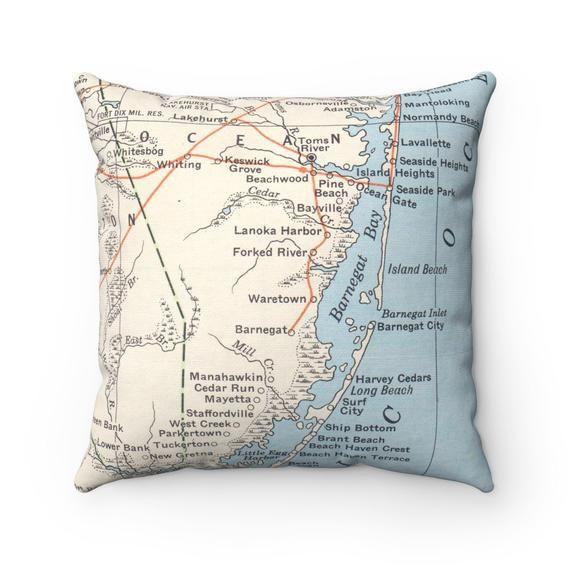 Island Beach State Park Nj: Long Beach Island Map Pillow