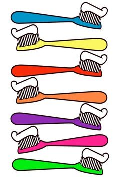 toothbrush clip art this file contains 7 toothbrushes in color all rh pinterest com