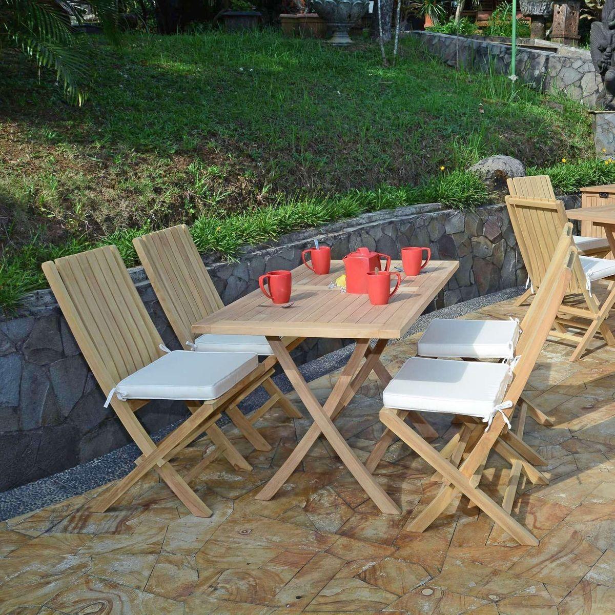 Salon de jardin en teck Ecograde Masaï table pliante avec 4 ...
