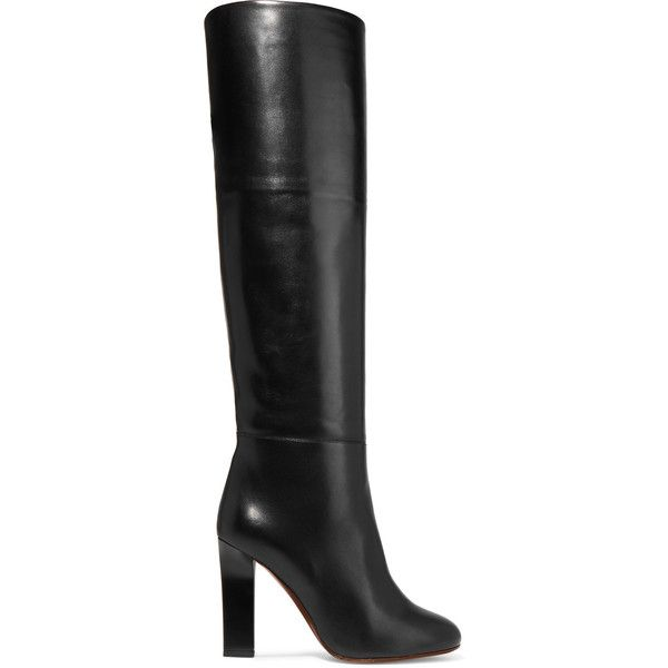 Victoria Beckham Leather knee boots ($1,640) ❤ liked on Polyvore featuring shoes, boots, leather knee high boots, knee high heel boots, pull on leather boots, black knee-high boots and black leather boots
