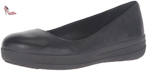 FitFlop F-Pop Ballerina Leather, Ballerines Femme, (All Black Leather), 37.5 EU