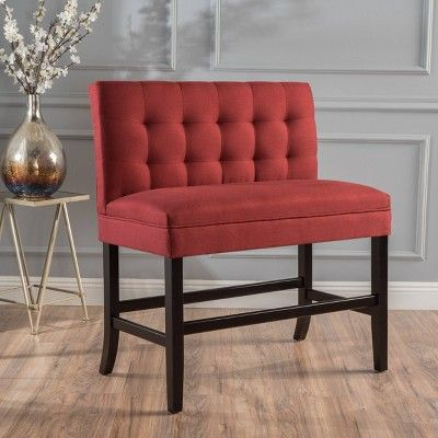 Isaiah Counterstool Bench Red Christopher Knight Home