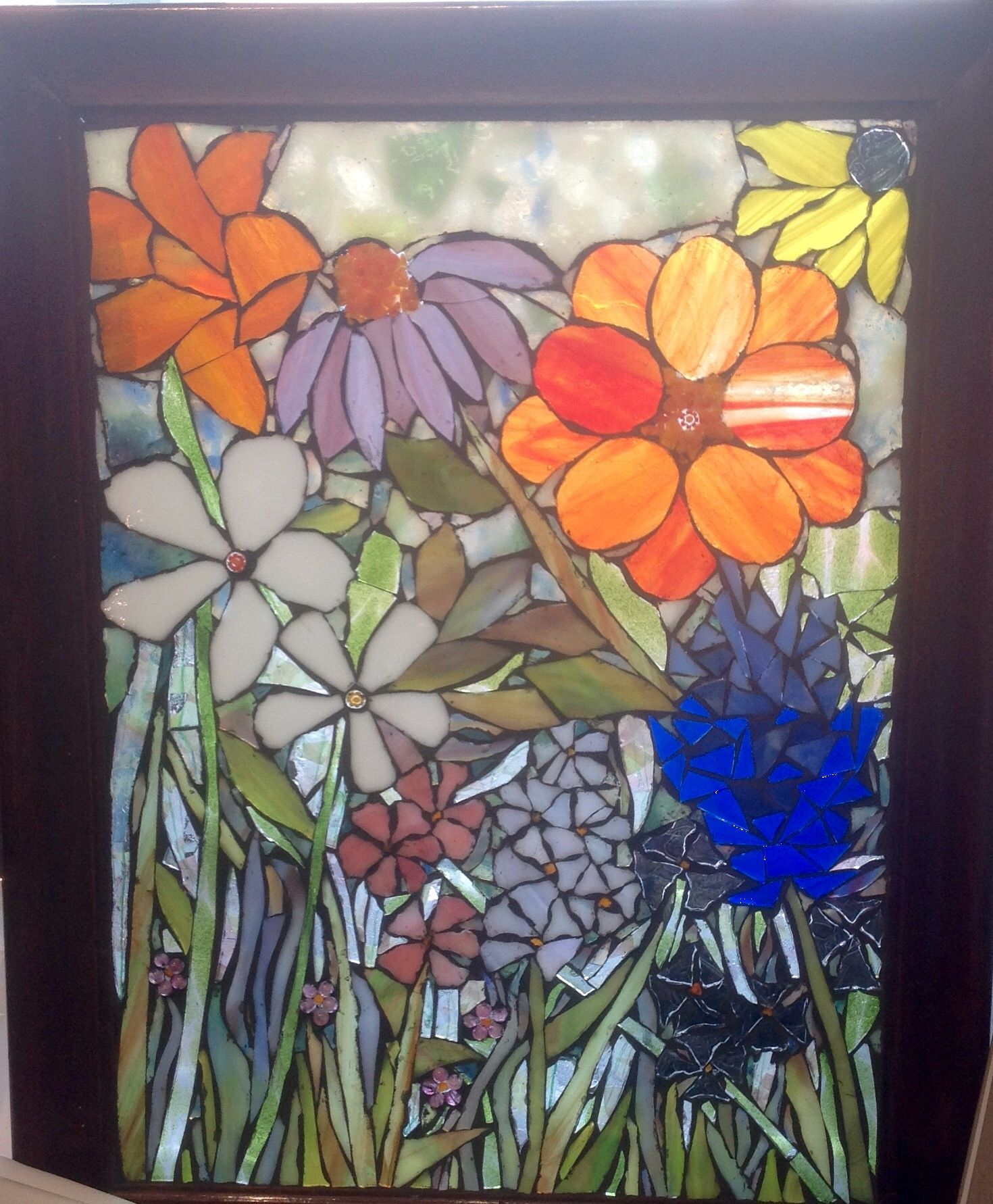 Mosaic flower garden by Lisa Skibenes  Stained glass, beads, frit