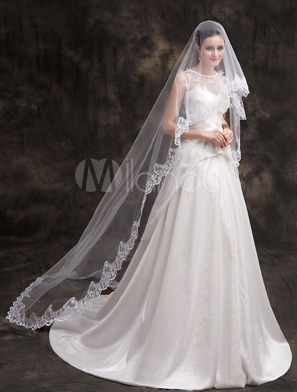 1940s style wedding dresses  White Polyester OneTier Waterfall Lace Applique Edge Lace Wedding