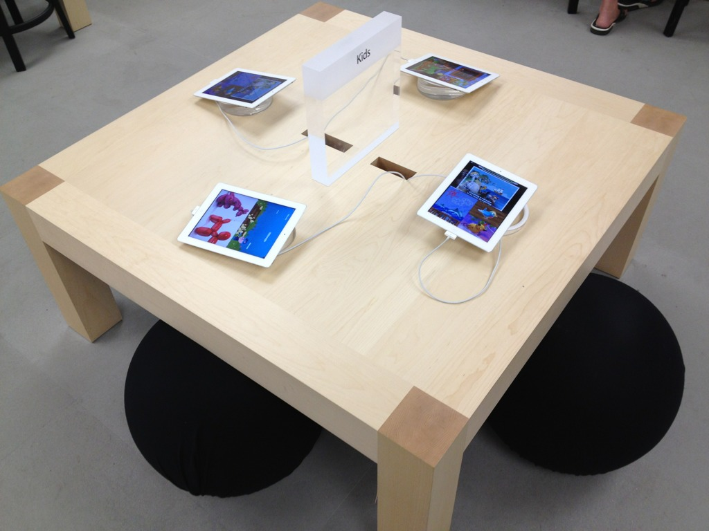 Apple has started to replace kids 39 table with ipads for Apple store projector