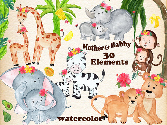 Mother And Baby Watercolor Animals Safari Etsy Mother And Baby Animals Animal Clipart Baby Animals