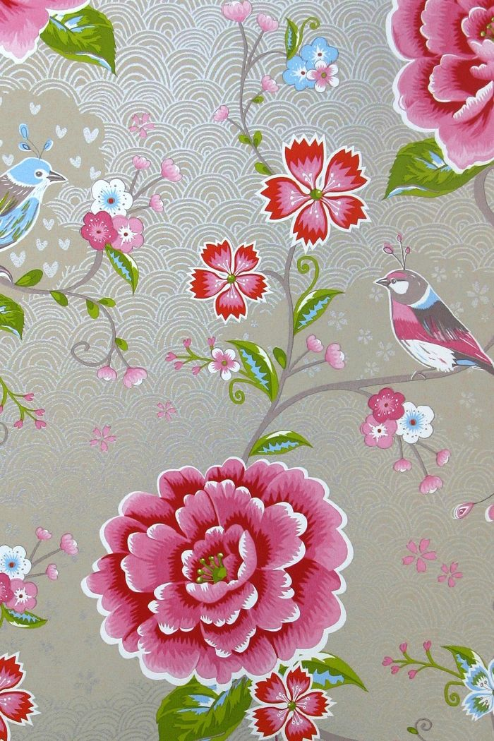 PiP Birds in Paradise Khaki wallpaper | Traditional 2 ...