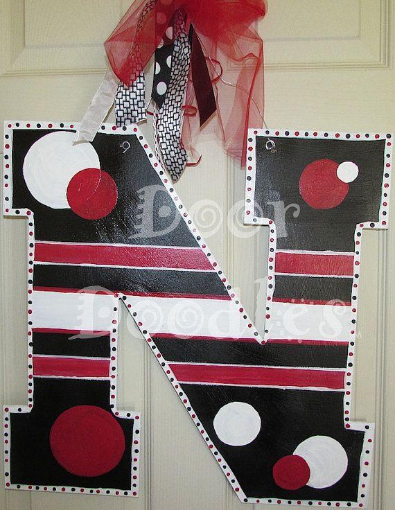 Nebraska N Custom Letter Monogram Door Hanger By Doordoodlesdecor