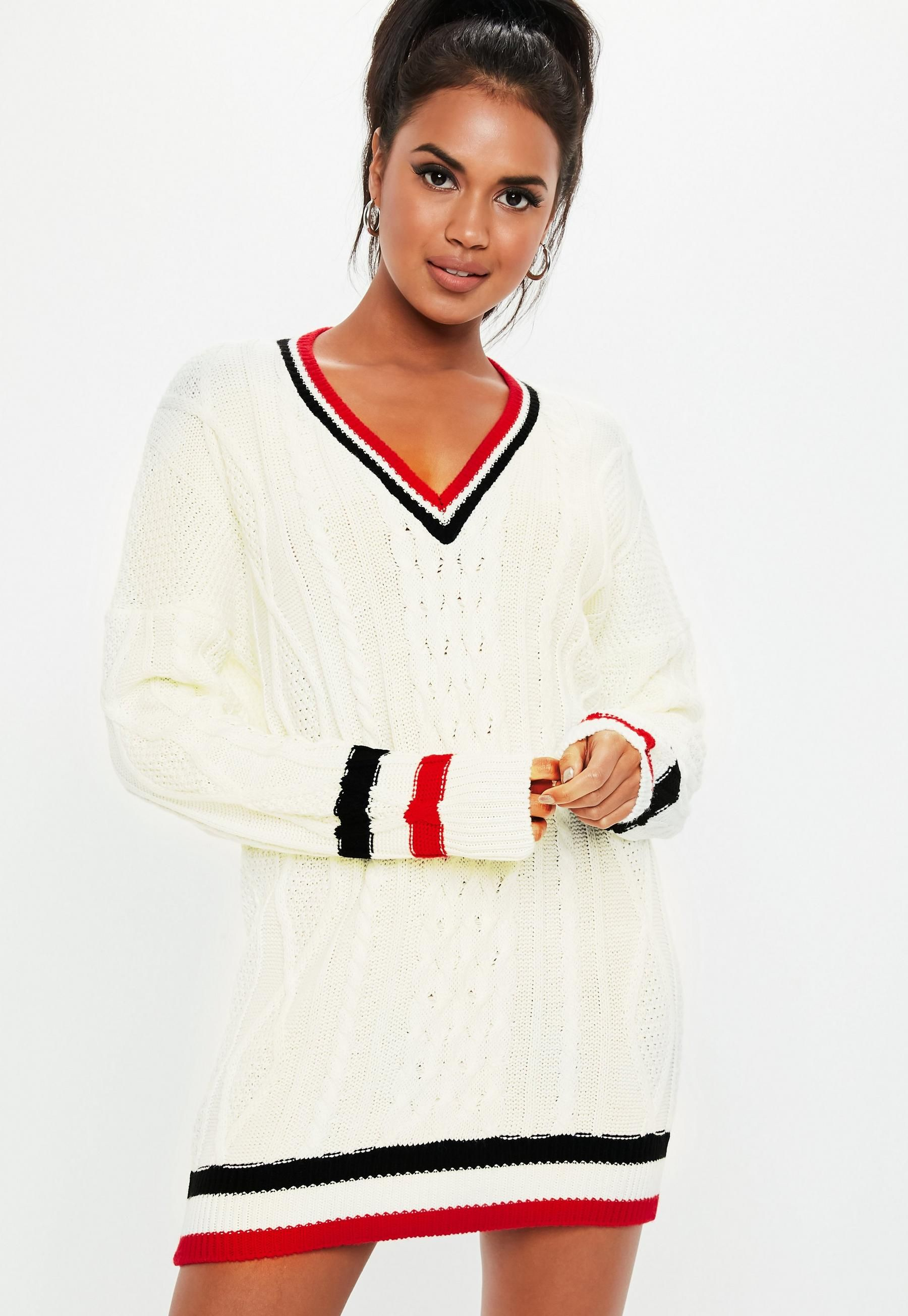 8ee146011fc496 Missguided Cream V Neck Cable Knit Sweater Dress in 2019 ...